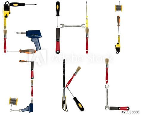 """""""Letters made of hand tools"""" Stock photo and royalty-free"""
