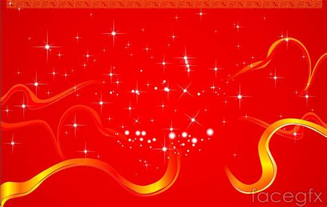 Happy New Year Stars Red Background Vector For Free
