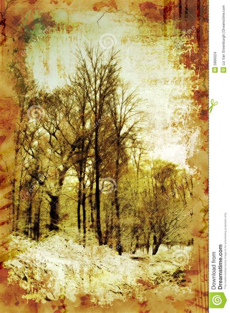 Vintage Winter Trees Stock Images - Image: 5866024