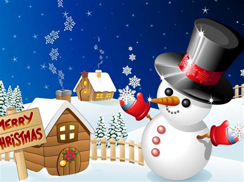 Merry Christmas Winter Snow Wood Houses With Snowman
