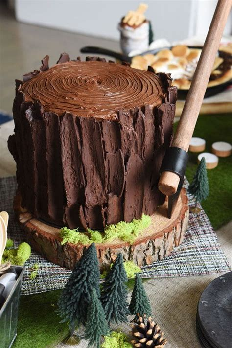 """This tree stump cake for a lumber jack themed """"bro-dal"""
