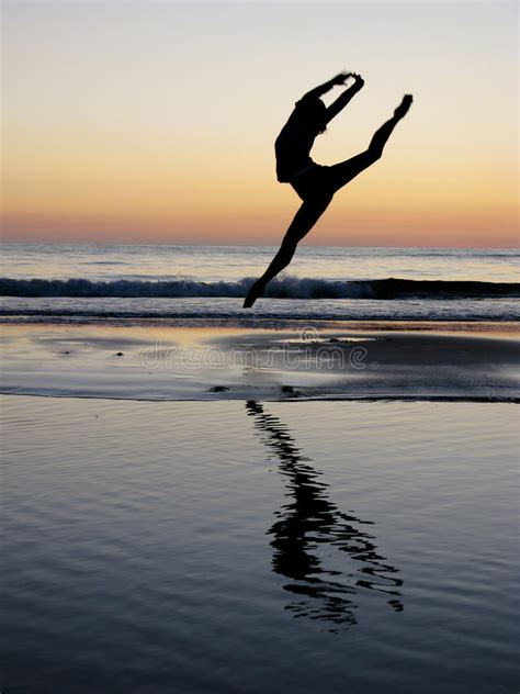 Ballet Girl Jump In The Sunset Stock Image - Image of