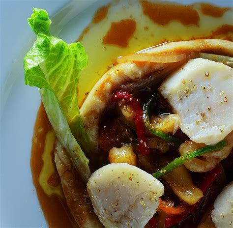 Poached Cod with Chickpea Purée and Stockfish Tripe