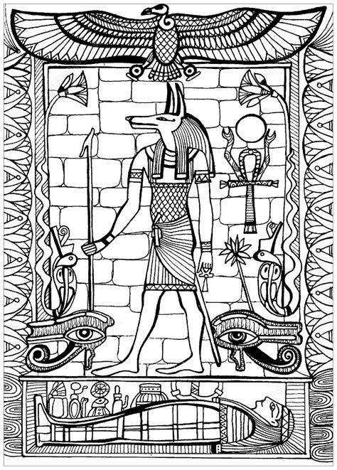 Anubis, God of Ancient Egypt - Egypt Adult Coloring Pages